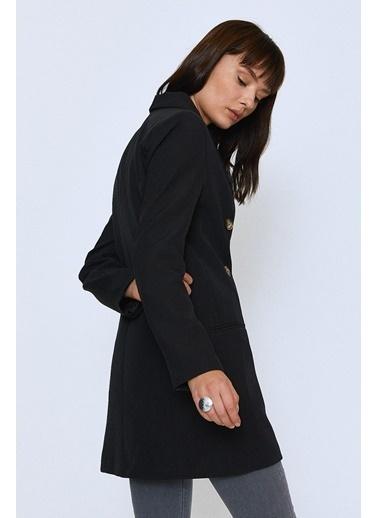 Quzu Kruvaze Blazer Ceket Siyah